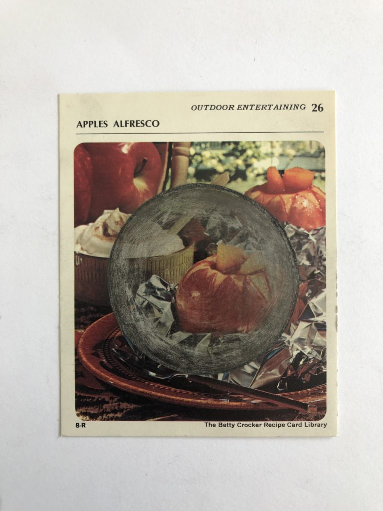 Betty Crocker recipe card with graphite and/or copper wire.