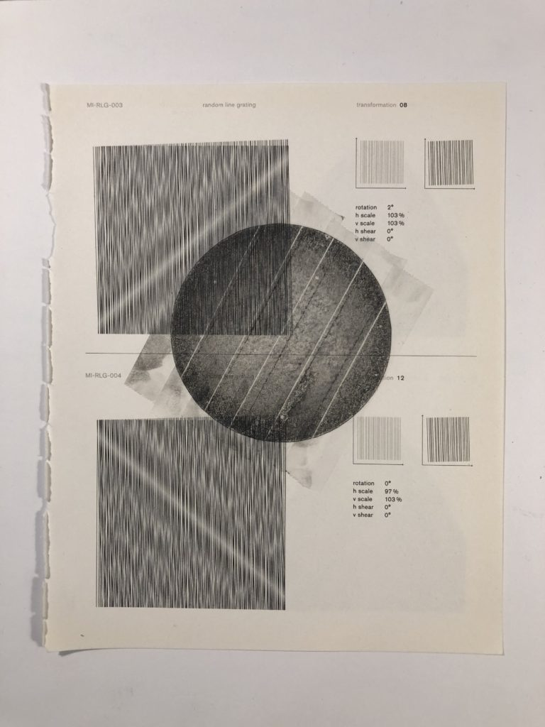 Collage on moire with graphite and/or colored pencil, and/or watercolor, and/or scotch tape. 2020.
