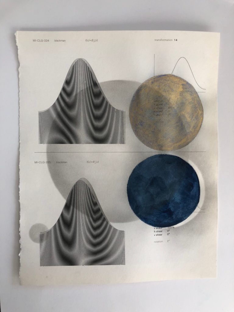 Collage on moire with graphite and/or colored pencil, and/or watercolor, and/or scotch tape, 2020.