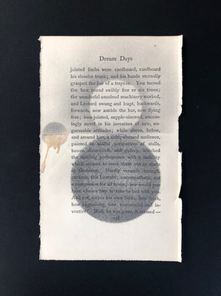"""Watercolor, colored pencil, graphite, scotch tape on pages of Kenneth Grahame's Dream Days (first published in 1898), 4.5"""" x  6.5,"""" 2020."""
