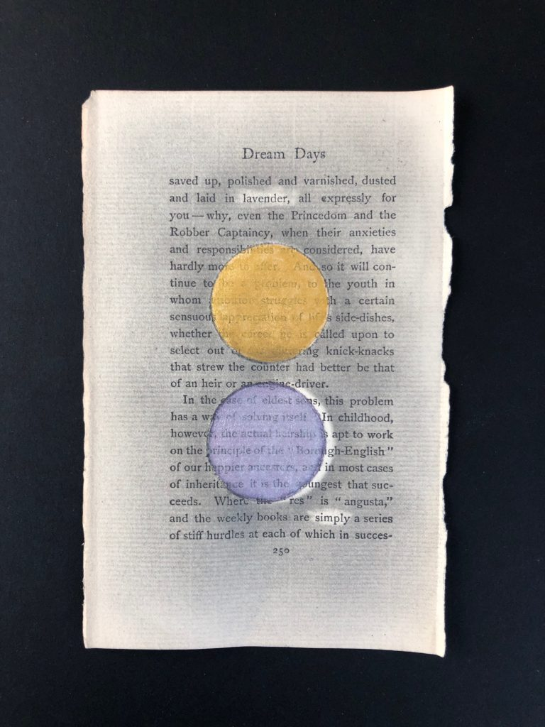 "Watercolor, colored pencil, graphite, scotch tape on pages of Kenneth Grahame's Dream Days (first published in 1898), 4.5"" x  6.5,"" 2020."