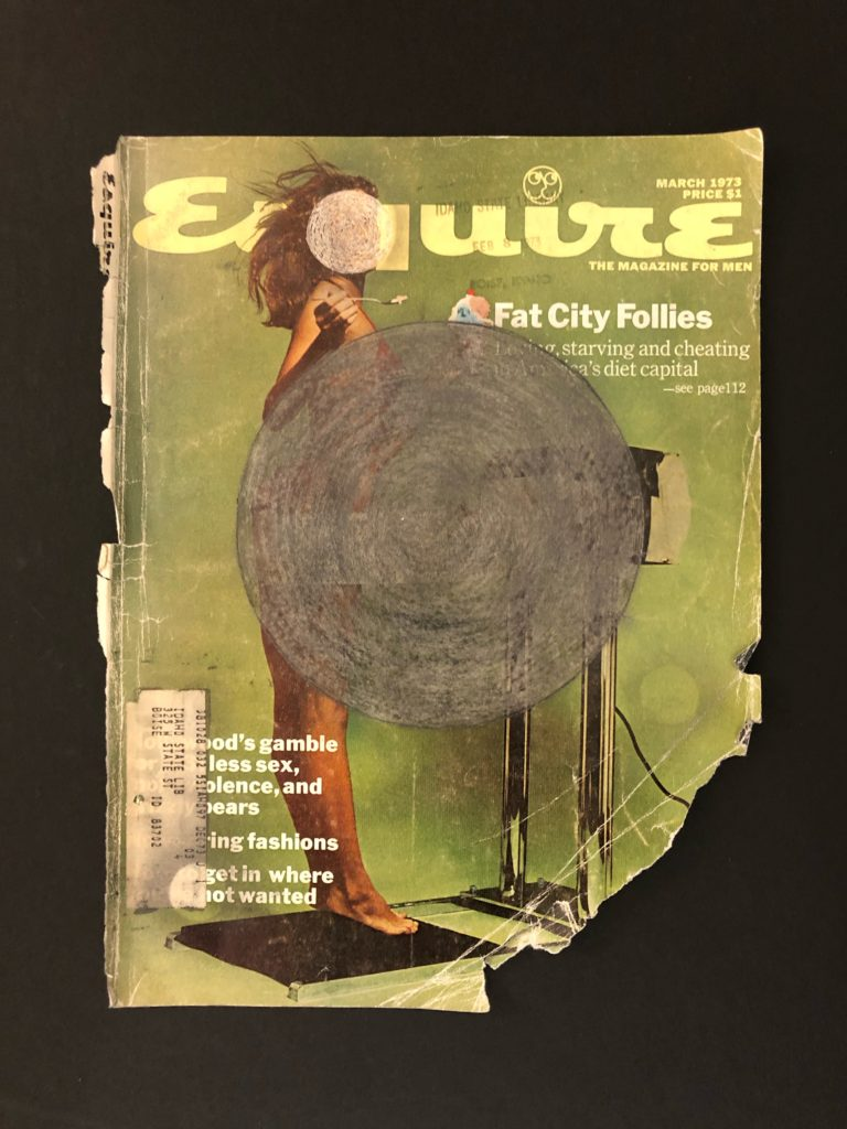Graphite drawing of concentric circles along with scratched circles on the cover of Esquire magazine, 1973.